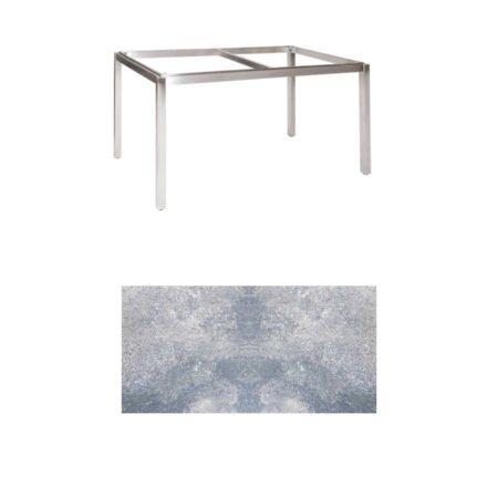"Jati & Kebon Tischgestell ""Muri"" 130x80 cm, Edelstahl, Tischplatte HPL lavagrau"