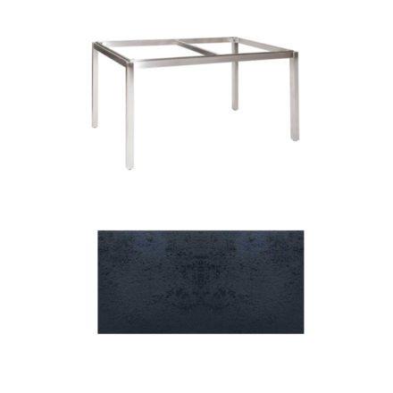 """Jati & Kebon Tischgestell """"Muri"""" 130x80 cm, Edelstahl, Tischplatte HPL schiefer schwarz"""
