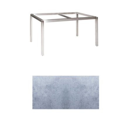 "Jati & Kebon Tischgestell ""Muri"" 130x80 cm, Edelstahl, Tischplatte HPL zementgrau"