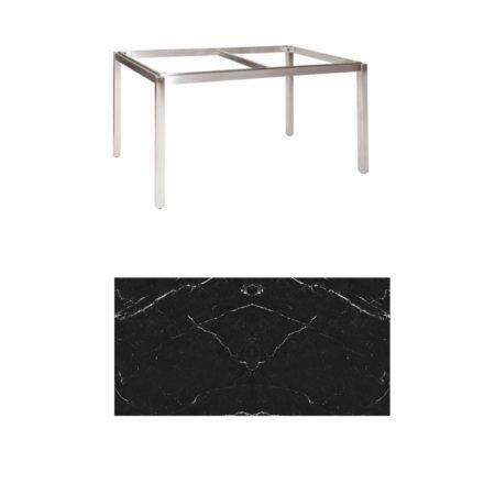 "Jati & Kebon Tischgestell ""Muri"" 130x80 cm, Edelstahl, Tischplatte Keramik Dark Marble"