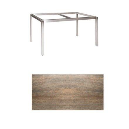 """Jati & Kebon Tischgestell """"Muri"""" 130x80 cm, Edelstahl, Tischplatte Keramik Eiche dunkel"""