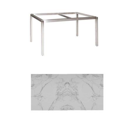"Jati & Kebon Tischgestell ""Muri"" 130x80 cm, Edelstahl, Tischplatte Keramik Graduario"