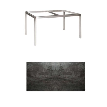 "Jati & Kebon Tischgestell ""Muri"" 130x80 cm, Edelstahl, Tischplatte Keramik Oxido Dark Night"