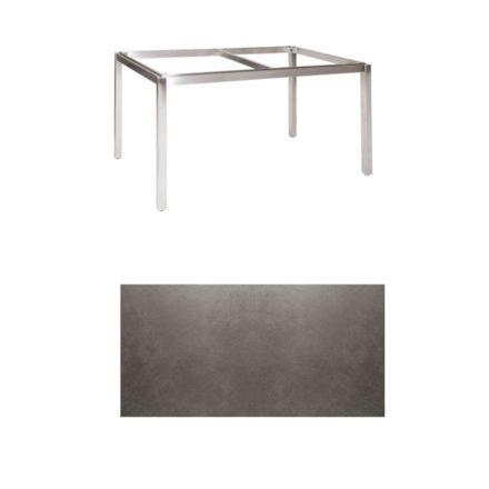 "Jati & Kebon Tischgestell ""Muri"" 130x80 cm, Edelstahl, Tischplatte Keramik Zement dunkel"