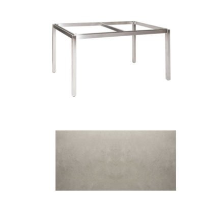 "Jati & Kebon Tischgestell ""Muri"" 130x80 cm, Edelstahl, Tischplatte Keramik Zement hell"