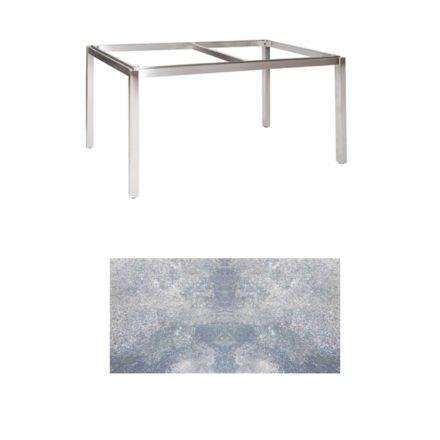"Jati & Kebon Tischgestell ""Muri"" 160x90 cm, Edelstahl, Tischplatte HPL lavagrau"