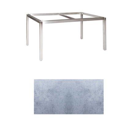 "Jati & Kebon Tischgestell ""Muri"" 160x90 cm, Edelstahl, Tischplatte HPL zementgrau"