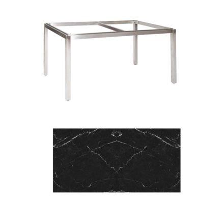 "Jati & Kebon Tischgestell ""Muri"" 160x90 cm, Edelstahl, Tischplatte Keramik Dark Marble"