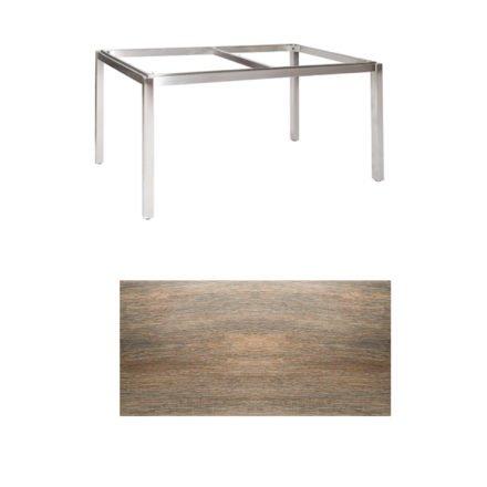 """Jati & Kebon Tischgestell """"Muri"""" 160x90 cm, Edelstahl, Tischplatte Keramik Eiche dunkel"""