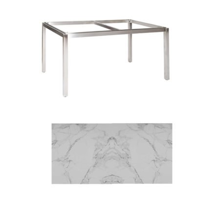 "Jati & Kebon Tischgestell ""Muri"" 160x90 cm, Edelstahl, Tischplatte Keramik Graduario"
