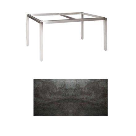 "Jati & Kebon Tischgestell ""Muri"" 160x90 cm, Edelstahl, Tischplatte Keramik Oxido Dark Night"