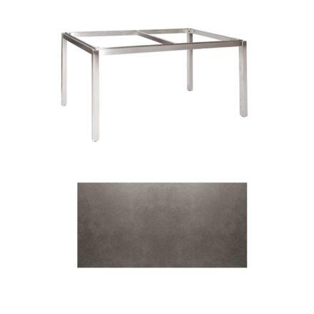 "Jati & Kebon Tischgestell ""Muri"" 160x90 cm, Edelstahl, Tischplatte Keramik Zement dunkel"