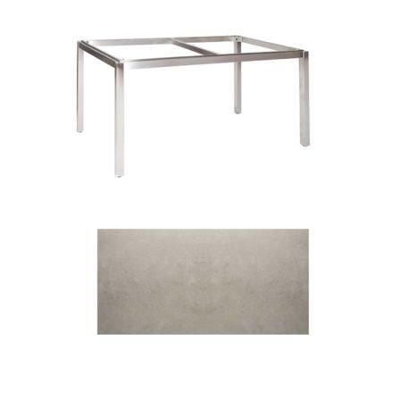"Jati & Kebon Tischgestell ""Muri"" 160x90 cm, Edelstahl, Tischplatte Keramik Zement hell"