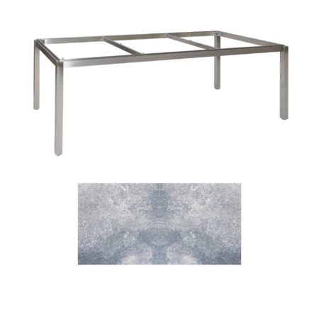 "Jati & Kebon Tischgestell ""Muri"" 220x100 cm, Edelstahl, Tischplatte HPL lavagrau"