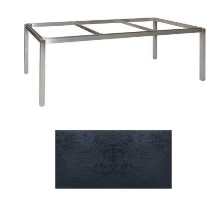"""Jati & Kebon Tischgestell """"Muri"""" 220x100 cm, Edelstahl, Tischplatte HPL schiefer schwarz"""