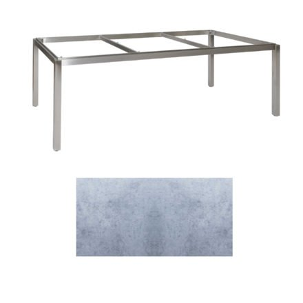 "Jati & Kebon Tischgestell ""Muri"" 220x100 cm, Edelstahl, Tischplatte HPL zementgrau"