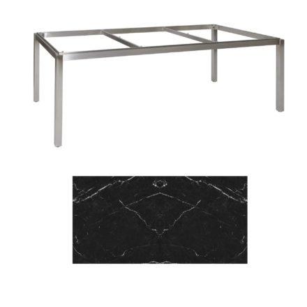 "Jati & Kebon Tischgestell ""Muri"" 220x100 cm, Edelstahl, Tischplatte Keramik Dark Marble"