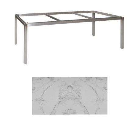 "Jati & Kebon Tischgestell ""Muri"" 220x100 cm, Edelstahl, Tischplatte Keramik Graduario"