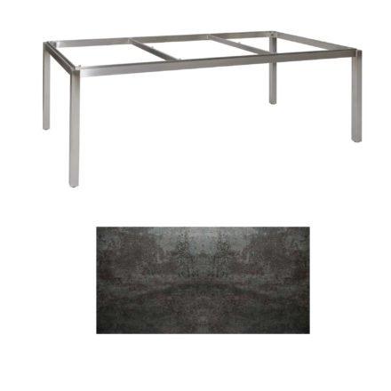 "Jati & Kebon Tischgestell ""Muri"" 220x100 cm, Edelstahl, Tischplatte Keramik Oxido Dark Night"