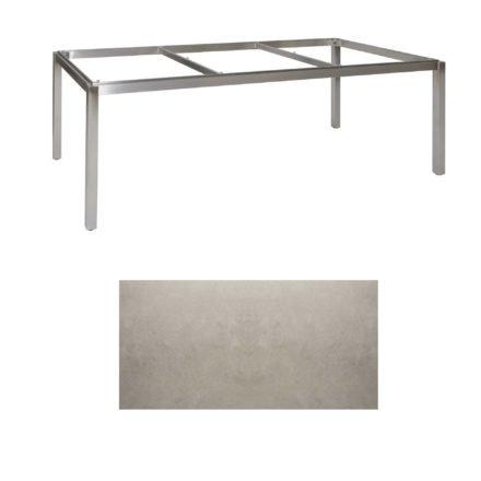 "Jati & Kebon Tischgestell ""Muri"" 220x100 cm, Edelstahl, Tischplatte Keramik Zement hell"