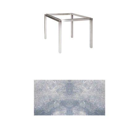 "Jati & Kebon Tischgestell ""Muri"" 90x90 cm, Edelstahl, Tischplatte HPL lavagrau"
