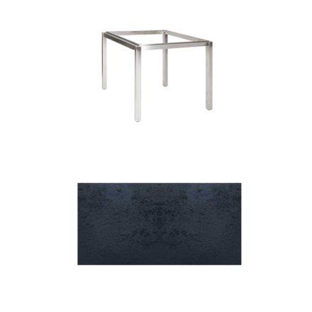 """Jati & Kebon Tischgestell """"Muri"""" 90x90 cm, Edelstahl, Tischplatte HPL schiefer schwarz"""