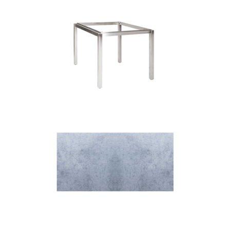 "Jati & Kebon Tischgestell ""Muri"" 90x90 cm, Edelstahl, Tischplatte HPL zementgrau"