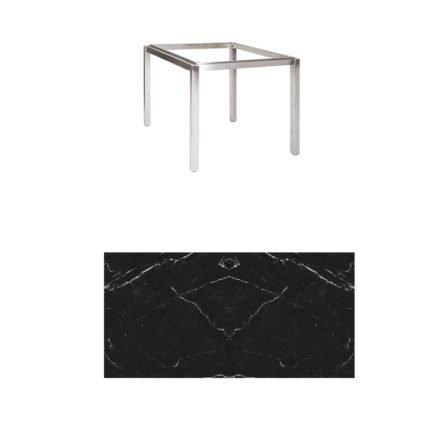 "Jati & Kebon Tischgestell ""Muri"" 90x90 cm, Edelstahl, Tischplatte Keramik Dark Marble"