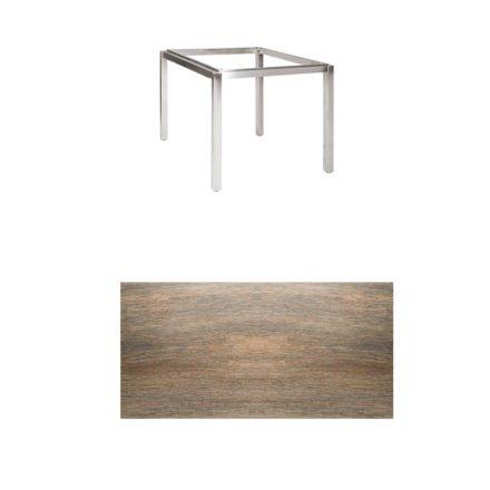"""Jati & Kebon Tischgestell """"Muri"""" 90x90 cm, Edelstahl, Tischplatte Keramik Eiche dunkel"""