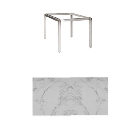 "Jati & Kebon Tischgestell ""Muri"" 90x90 cm, Edelstahl, Tischplatte Keramik Graduario"