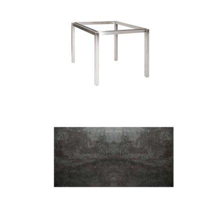 "Jati & Kebon Tischgestell ""Muri"" 90x90 cm, Edelstahl, Tischplatte Keramik Oxido Dark Night"