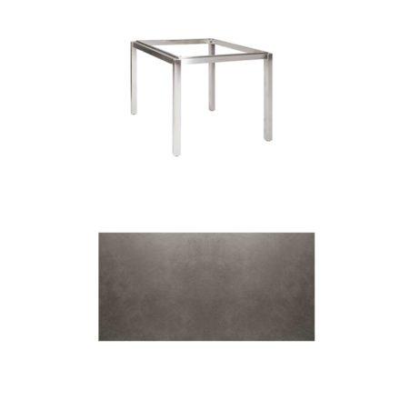 "Jati & Kebon Tischgestell ""Muri"" 90x90 cm, Edelstahl, Tischplatte Keramik Zement dunkel"