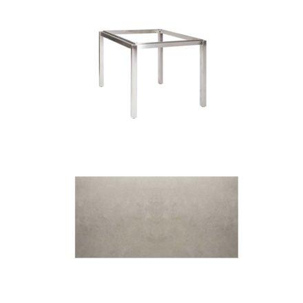 "Jati & Kebon Tischgestell ""Muri"" 90x90 cm, Edelstahl, Tischplatte Keramik Zement hell"