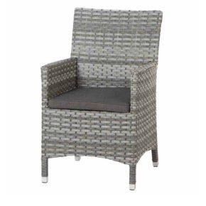 Gartenstuhl Soreno, Dining-Sessel von Siena Garden inkl. Kissen schwarz, Polyrattangeflecht old-grey