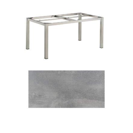 "Kettler Gartentisch, Tischgestell 160x95cm ""Cubic"", Edelstahl, mit Tischplatte HPL silber-grau"
