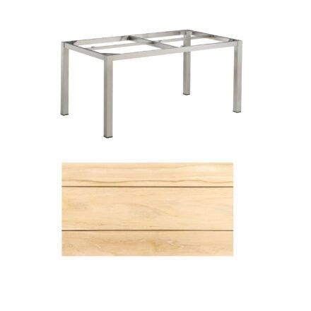 """Kettler Gartentisch, Tischgestell 160x95cm """"Cubic"""", Edelstahl, mit Tischplatte Teakholz"""