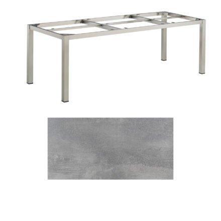 "Kettler Gartentisch, Gestell 220x95cm ""Cubic"", Edelstahl, mit Tischplatte HPL silber-grau"