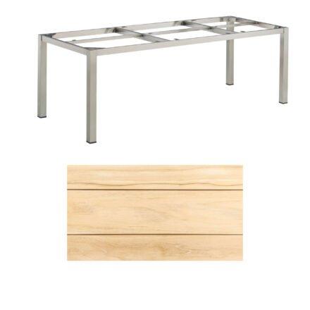 """Kettler Gartentisch, Tischgestell 220x95cm """"Cubic"""", Edelstahl, mit Tischplatte Teakholz"""
