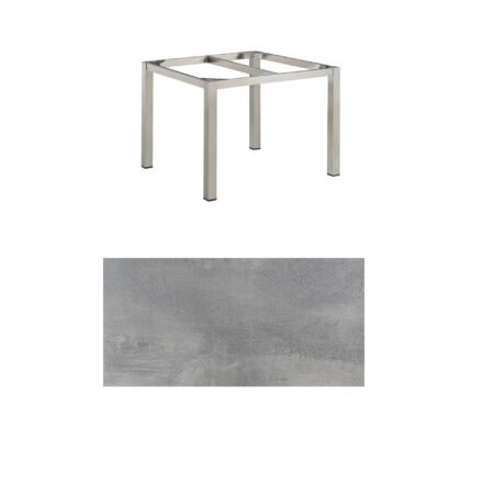 "Kettler Gartentisch, Tischgestell 95x95cm ""Cubic"", Edelstahl, mit Tischplatte HPL silber-grau"