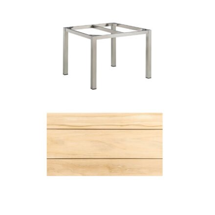 """Kettler Gartentisch, Tischgestell 95x95cm """"Cubic"""", Edelstahl, mit Tischplatte Teakholz"""
