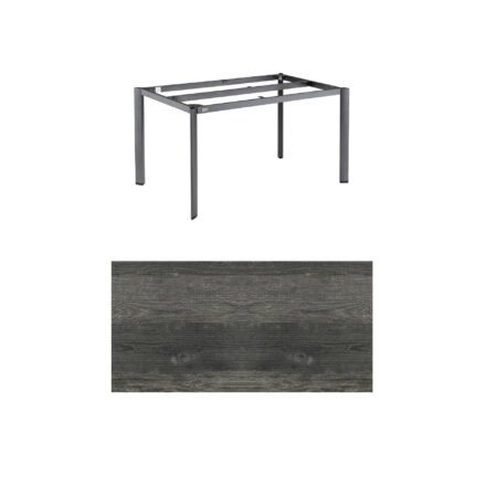 """Kettler """"Edge"""" Tischgestell 140x70 cm, Alu anthrazit, mit Tischplatte HPL Pinie anthrazit"""