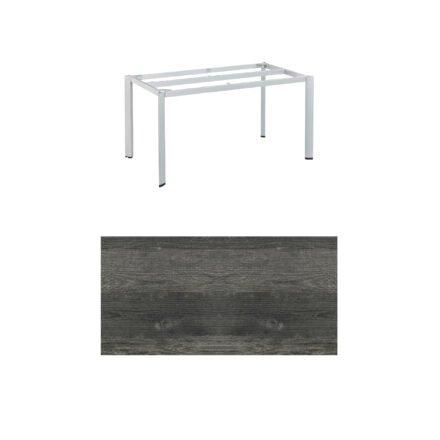 """Kettler """"Edge"""" Tischgestell 140x70 cm, Alu silber, mit Tischplatte HPL Pinie anthrazit"""
