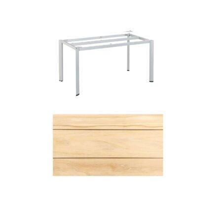 """Kettler """"Edge"""" Tischgestell 140x70cm, Alu silber, mit Tischplatte Teak"""