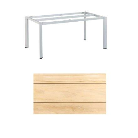 """Kettler """"Edge"""" Tischgestell 160x95cm, Alu silber, mit Tischplatte Teak"""