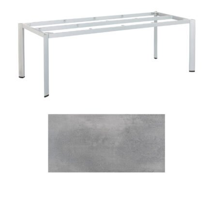 "Kettler ""Edge"" Tischgestell 220x95cm, Alu silber, mit Tischplatte HPL silber-grau"