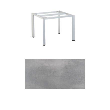 "Kettler ""Edge"" Tischgestell 95x95cm, Alu silber, mit Tischplatte HPL silber-grau"