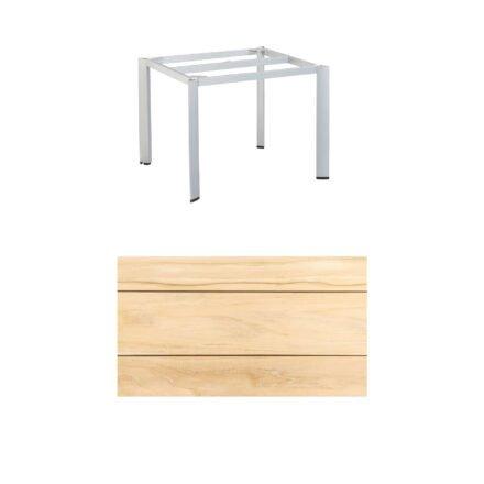 """Kettler """"Edge"""" Tischgestell 95x95cm, Alu silber, mit Tischplatte Teak"""