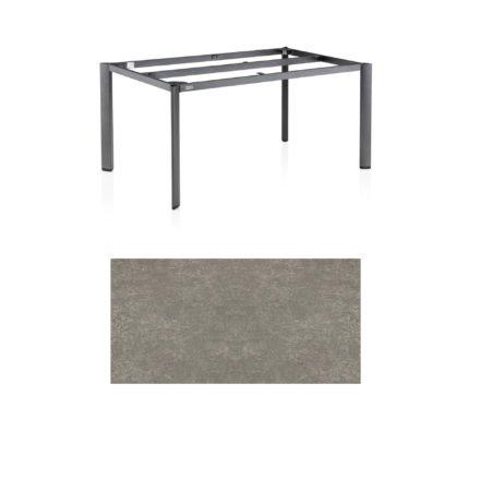 "Kettler Tischgestell 160x95cm ""Edge"", Aluminium eisengrau, mit Tischplatte Keramik grau-taupe"