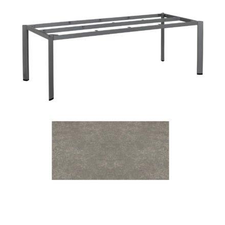 "Kettler Tischgestell 220x95cm ""Edge"", Aluminium eisengrau, mit Tischplatte Keramik grau-taupe"
