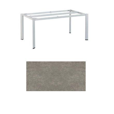 "Kettler Tischgestell 160x95cm ""Edge"", Aluminium silber, mit Tischplatte Keramik grau-taupe"